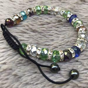 Multi colored crystal & rhinestone bracelet one sz